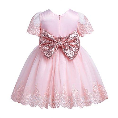 iiniim Baby Kleid Prinzessin Kleid Blumenmädchenkleid Baby mädchen Taufkleid Festlich Hochzeit Kleid Partykleid Gr.62-92 Rosa 62-68
