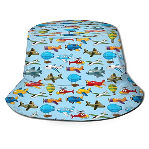 Rundafuwu Angeln Hüte Fisherman's Hat Helicopter Pattern Bucket Hat Boonie Cap Portable Sun Protection Summer Fisherman Cap