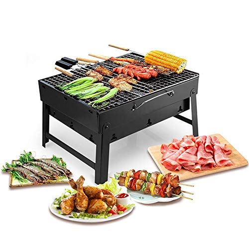 Barbecue houtskoolgrill Opvouwbaar Zwaar uitgevoerd 14 inch stalen constructie Houtskoolrek en opvouwbare grill Voor buitenbarbecues, kamperen, bumperkleven, reizen Zwart,Package c