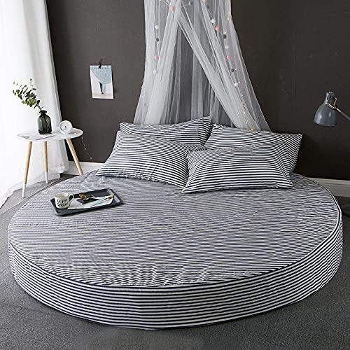 DSman Protector de colchón/Cubre colchón Acolchado, Ajustable y antiácaros. Sábana de Cama Redonda de algodón de Color Puro -7_2.2m