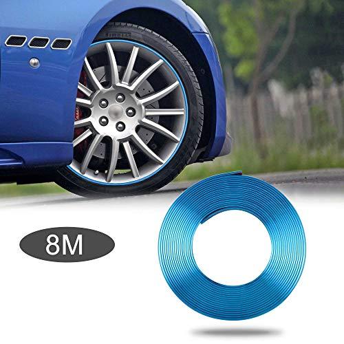 TOMALL 8M Car Wheel Hub Decorative Protection Ring Tire Sticker Guard Strip hub Anti-Collision Strip Wheel Hub Rubber Scratch Prevention (Plated Blue)