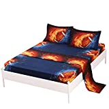 SDIII 4PC American Football Bed Sheets Queen Size Sport Bedding Sheet Sets with Flat Fitted Sheet for Boys, Girls and Kids