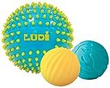 LUDI - Coffret de 3 balles d'éveil bleues. Dès 6 mois. 1 grande balle bicolore de...