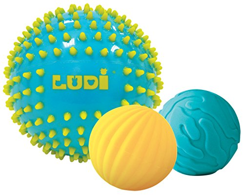 Ludi - Coffret de 3 balles d'éveil Bleues. Dès 6 Mois. 1 Grande Balle Bicolore de Massage et 2 Petites balles nervurées. 15 et 8 cm - 30023