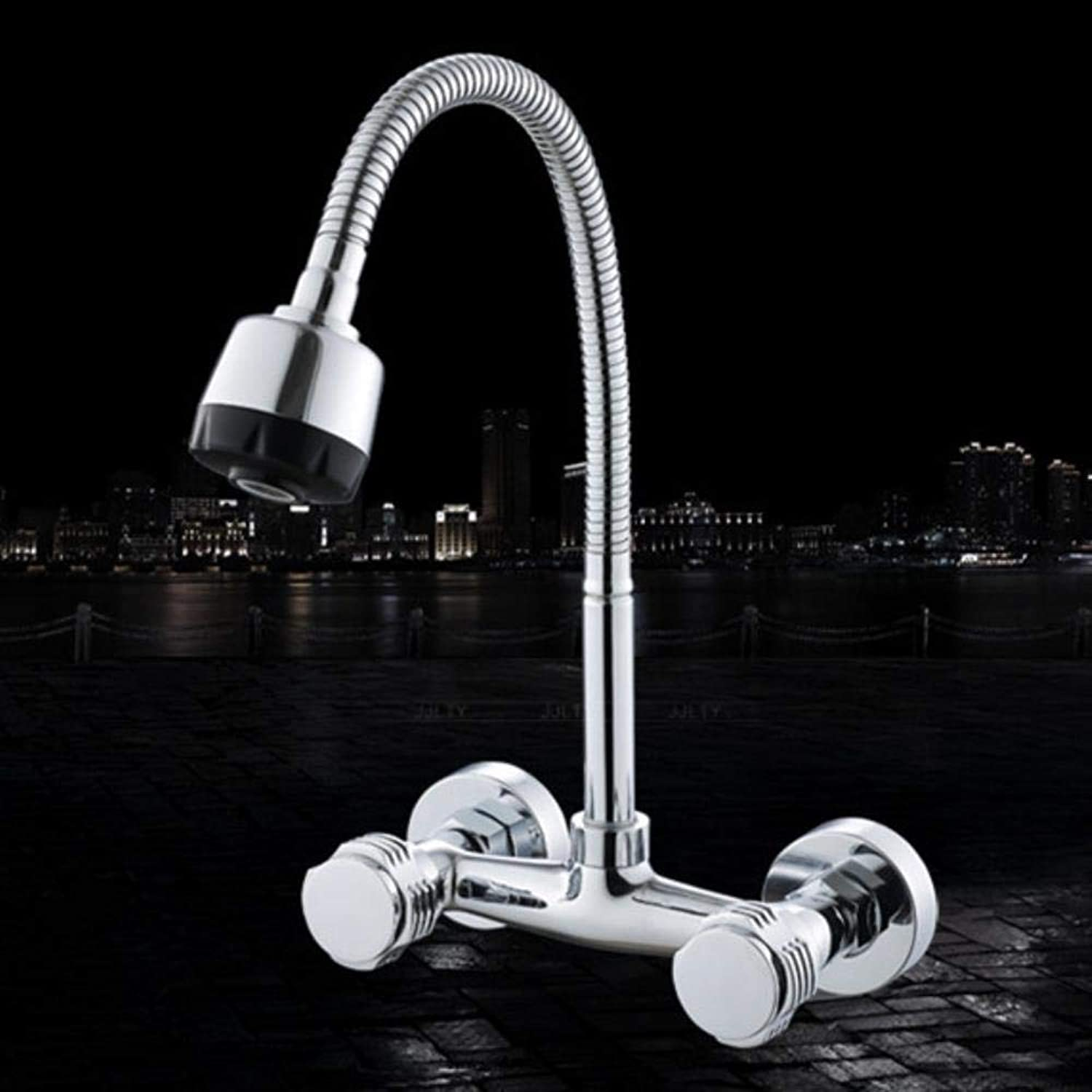 Kai&Guo Wall mounted dual hole kitchen sink faucet with dual handle kitchen mixer tap of hot cold water tap,Red