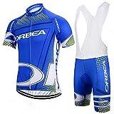 Maillot de manga corta para hombre, de secado rápido, manga corta + pantalones cortos de ciclismo con almohadilla de gel, ciclismo de montaña