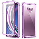 Dexnor Galaxy Note 9 Case with Screen Protector Clear Military Grade Rugged 360 Full Body Protective Shockproof Hard Back Cover Defender Heavy Duty Bumper Case for Samsung Note 9 - Purple