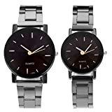 Top Plaza His and Hers Valentine Day Gift Couples Watches All Black Bracelet Watch Simple Elegant Design