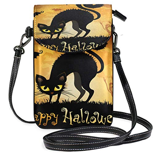 XCNGG bolso del teléfono Small Crossbody Coin Purse Horror Theme Halloween Cat Black Phonepurse for Women Bags Leather Multicolor smart phone Bags Purse With Removable Strap