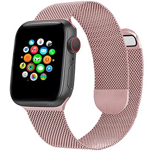 Correa de Reloj Metálica Milanesa Compatible con Apple Watch Band 44 mm 42 mm, Pulsera de Repuesto de Malla de Acero Inoxidable Ajustable Magnética para iWatch Series 6 5 4 3 2 1 SE, Rosa Rosa
