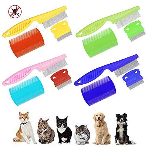 Ledoo 12 Stück Haustier Flohkamm Läusekamm Staubkamm Tierpflege Bürsten Haustier Flecken Entferner kamm für Katzen Hunde