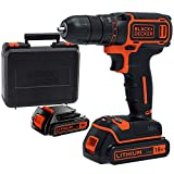 Black + Decker BDCDC18KB-QW Cordless Drill, 18V, with 2 Batteries, 3 Hour Charge Time