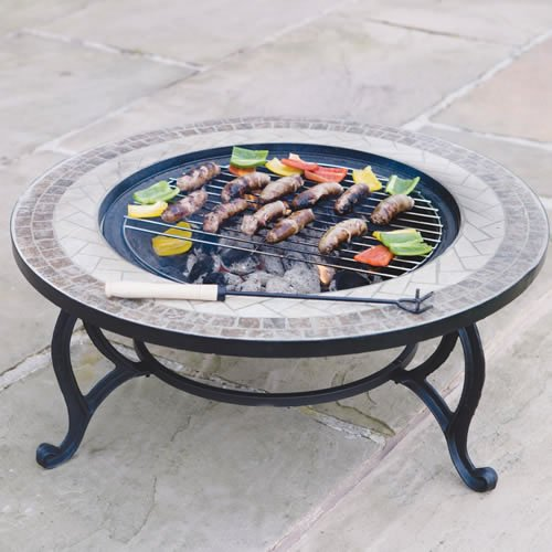 True Gardens Beacon Star combined Fire Pit 76cm and Coffee Table includes Fire Bowl, BBQ Grid, Spark Guard, Poker and Weather Cover