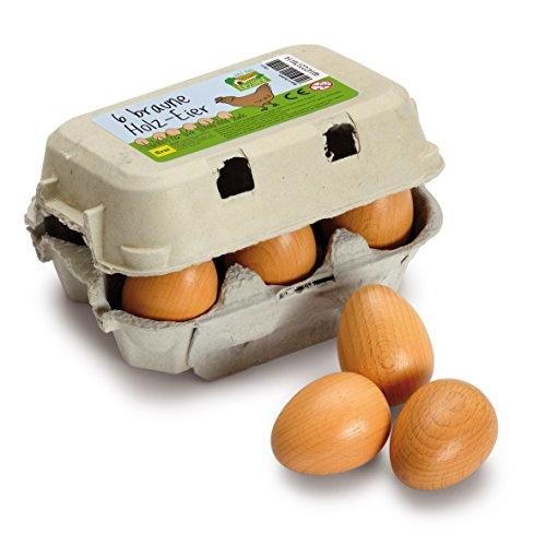 Erzi 17011 Eier, braun aus Holz im Karton, Kaufladenartikel für Kinder, Rollenspiele