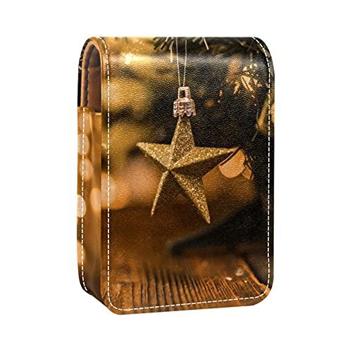 Little-Decorated-Tree-Wood-Board - Estuche para lápiz labial exterior para monedero, mini bolsa de lápiz labial, bolsa de viaje con espejo para mujer, toma hasta 3 lápiz labial