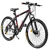 Max4out Mountain Bike 21 Speed Shimano with High Carbon Steel Frame, 26 inch Wheels, Double Disc...