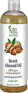 NBL Natural Almond Oil (Large 16 oz) Sweet Almond Oil for Skin or Almond Oil for Hair, the Perfect Natural Body Oil for Wo...