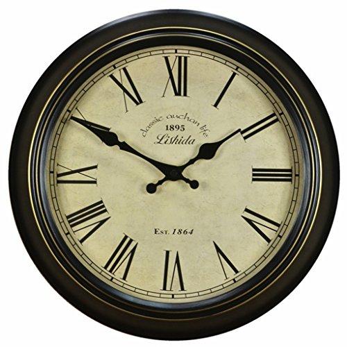 Unbekannt Vintage Wanduhr, Mute Wanduhr Wohnzimmer Antike Taschenuhr Ländliche Uhr 16-Zoll (Farbe : #-20, größe : 16Inch)