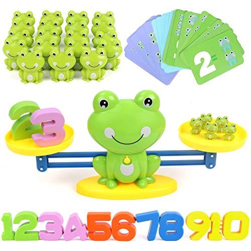 GILOBABY Montessori Mathe Waage Spielzeug,Zählen und Rechnen Lernspielzeug mit Waage und Zubehör,Cartoon Tier Frosch Balance Geschicklichkeit Spielzeug für Kinder ab 3+ Jahhre