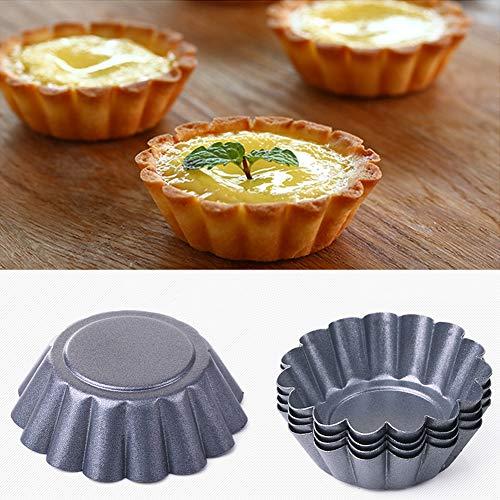 Bclaer72 Lot de 6 mini moules à tarte cannelés en acier au carbone anti-adhésif 6,5 cm