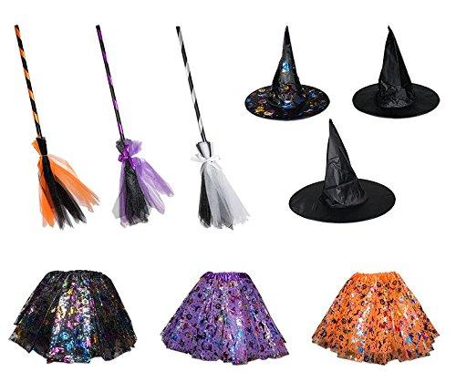 3 TLG Hexenkostüm für Kinder Hut Rock Besen Hexe Karneval Fasching Zauberer Bunt