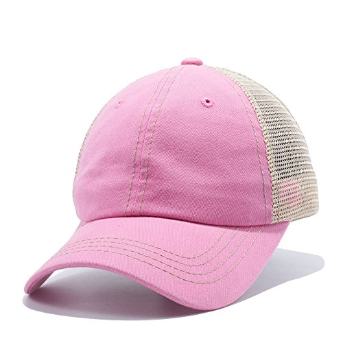 Plain Dyed Trucker Dad Hat Unstructured Buckle Strap Baseball Cap Pink