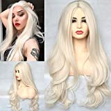 BLUPLE Platinum Blonde 60# Synthetic Wig Long Natural Wavy Heat Resistant Synthetic Hair Replacement Full Wigs Middle Part for Women22 Inch (No Lace Wig)