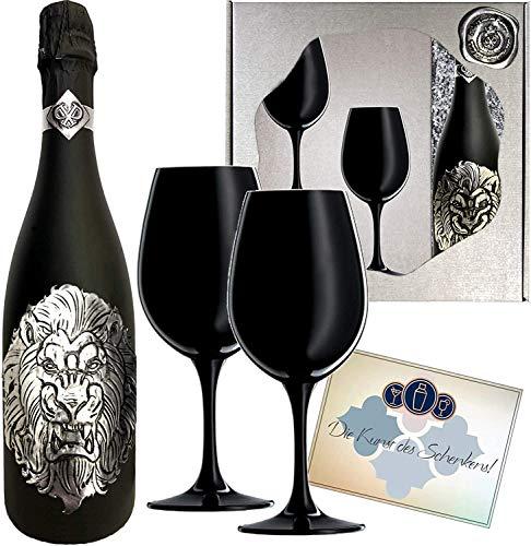 Das Sekt Geschenk Löwe Cuvée für Männer mit 2 Champagner-Gläsern Lion Juli/August Geschenkset