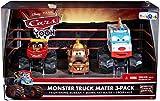 Disney Pixar Cars Monster Truck Mater 3 Pack Frightening McMean, Beanie Hat Mater, I-Screamer