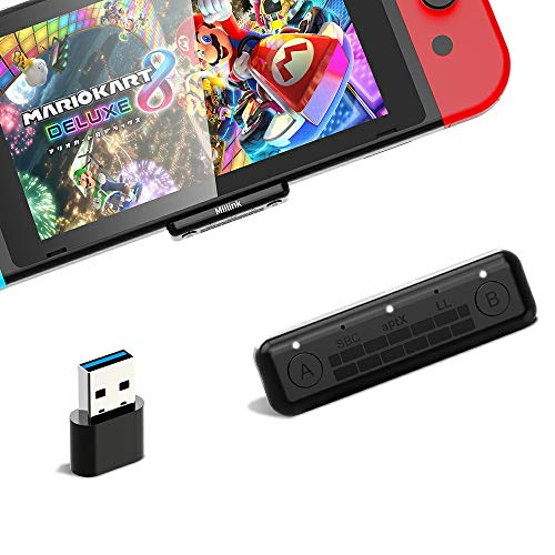 1mii Bluetooth Adapter Audio, Bluetooth USB Dongle Stick für Nintendo Switch/Switch Lite PS4 PC, Bluetooth Kopfhörer, USB Bluetooth Adapter Sender mit Dual-Verbindung aptX Low Latency