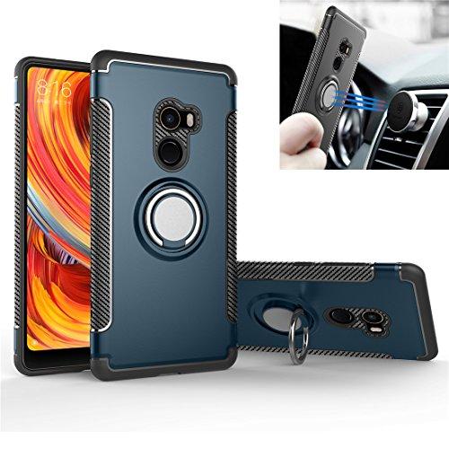 Custodia Xiaomi Mi Mix 2 Anello, Staffa Rotativa [Con 360 ° Kickstand] Cover di Protezione [Supporto Magnetico per Auto] Resilient...