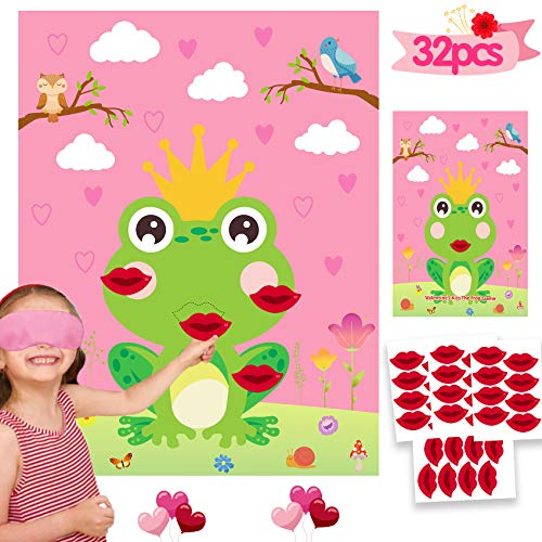 Valentine Games Kiss the Frogs Games with 32 Stickers Valentines Day Games for Kids Classroom Home Activity Valentine Party Supplies Decorations Pin the Kiss on the Frogs
