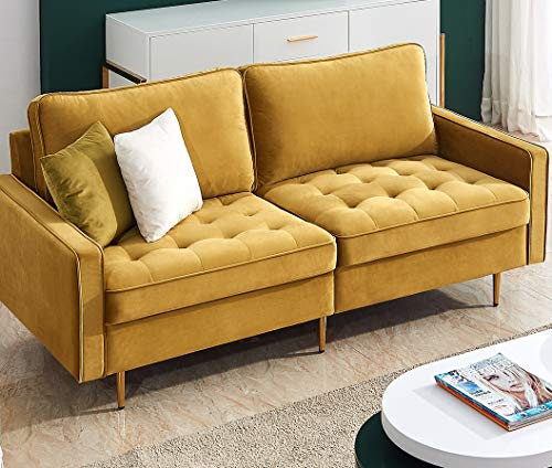 Danxee Velvet Fabric Sofa Couch 71' Wide Mid Century Modern Tufted Fabric Sofa Living Room Sofa 700lb Heavy Duty with 2 Pillows (Yellow)