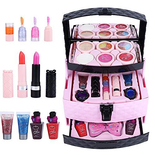 Meisjes make-up koffer, poeder bloos cosmetische set Kinderen Kids make-up game-accessoires Speelgoed, veilig en niet-giftig