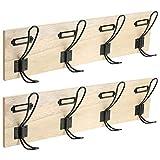 NAWA Home & Work, 2 Percheros Pared Madera - 4 Colgadores Dobles Montados en Madera, Estilo Industrial, para su casa u Oficina o el Garaje. Tenga Sus Casacos a la Mano y ordenados en su Sitio