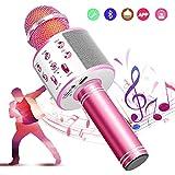 【5色】カラオケマイク bluetooth ワイヤレスマイク 音楽再生 録音可能 家庭カラオケ ポータブルスピーカー ノイズキャンセリング 1800mAh TFカード機能 Android/iPhoneに対応 XIANRUI (ピンク)