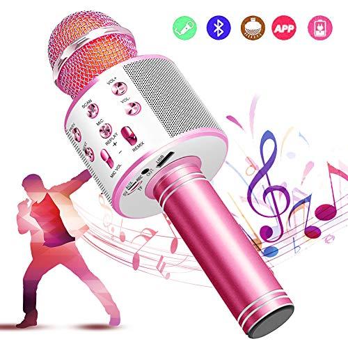カラオケマイク bluetooth ワイヤレスマイク 音楽再生 録音可能 家庭カラオケ ポータブルスピーカー ノイズキャンセリング 1800mAh TFカード機能 Android/iPhoneに対応 XIANRUI (ピンク)