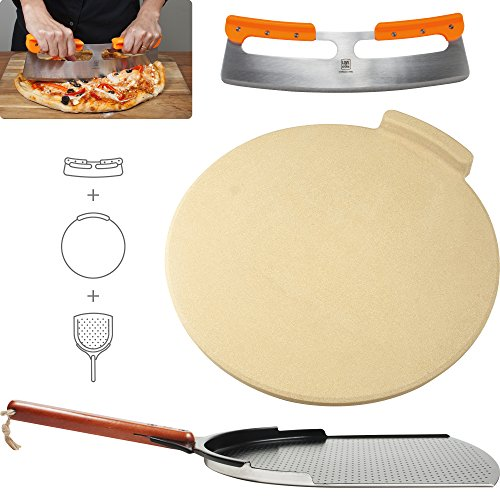The Ultimate Pizza Stone for Oven & Grill. 16 inch Round Baking Stone with Exclusive ThermaShock Protection & Core Convection Tech for the Perfect Crispy Crust on Pizzas & Bread. No-Spill Stopper