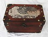 Baúl de madera con diseño vintage de mapa del mundo de madera