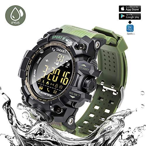ANKKA Bluetooth Smart Sportuhr Camouflage Wasserdichte Upgrade IP68 Uhr Outdoor Digitaluhr mit APP Plattform, Kamera-Fernbedienung, Fitness Tracker,Schrittzähler,Call Message Reminder, Alarm,Kalender