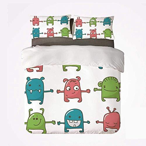 Yoyon Bettbezug-Set Doodle Praktisches 3-Bett-Set, zwölf Monster nebeneinander Süße Bestien Kinder zeichnen entzückenden Design-Druck für Dormify