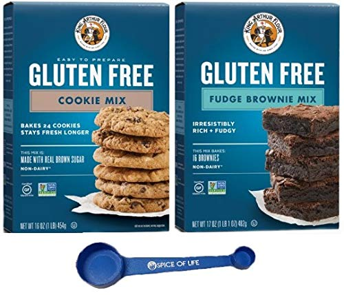 King Arthur Flour, Gluten Free Cookie and Brownie Mix, 16 Oz, One Box of Each with Spice of Life Measuring Spoon