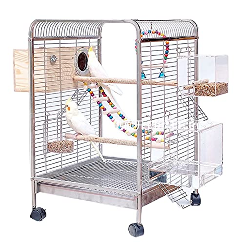 Birdhouses Bird Cages Stainless Steel Metal Bird Cages Transparent Personalized Bird Cages Pet Parrot Bird Cages Strong And Durable (Size : 40x40x65cm)
