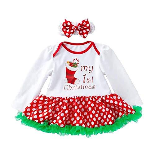 Ynnxia 4 Stks Set Kerst Jurk Baby Meisjes Romper Jurk Lange Mouw Rok Katoen Dot Patroon Jumpsuit Romper Kleding Set voor Pasgeboren Baby Meisje