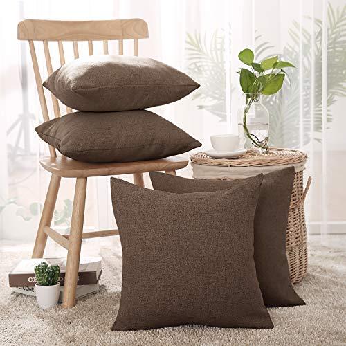 Deconovo Kissenbezüge, feines Kunstleinen, dekorativ, weich, Reißverschluss, für Stuhl, Set mit 4 Kissenbezügen