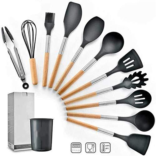 Juego de Utensilios de Cocina Antiadherentes 11 PCS Silicon Cocina Utensilios Utensilios - Conjunto de utensilios antiadherentes Resistente al calor - Utensilio de cocina de acero inoxidable Conjunto