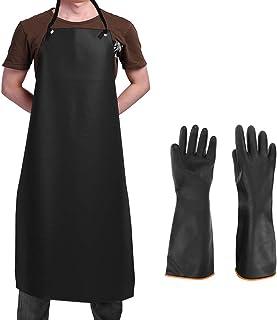 Waterproof Rubber Vinyl Apron & Heavy Duty Latex Gloves, SourceTon Ultra Lightweight Resist Strong Acid, Alkali and Oil Ap...