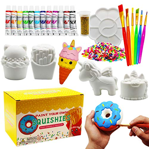 Korilave Squishies Toy Painting Kit for Girls DIY Art Crafts Jumbo Slow Rising Blank Unicorn Squishy Party Supplies Stress Anxiety Relief Toy for Kids 4 5 6 7 8 Years Old27Pcs