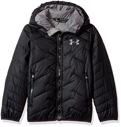 Under Armour Outerwear Youth Boys Cold Gear Reactor Hooded Jacket, Black/Graphite, Medium