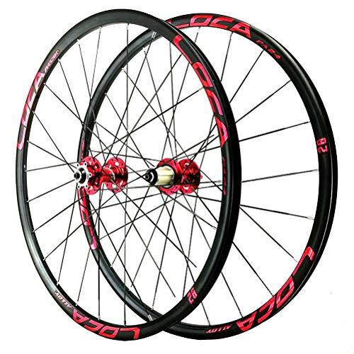 Mountainbike Laufradsatz 26/27.5 Zoll Räder Scheibenbremse Ultraleicht Leichtmetall-MTB Felge Schnelle Veröffentlichung QR 8-12 Geschwindigkeit 24 Loch (Color : Red, Size : 26in)